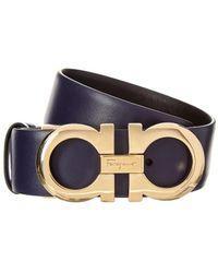 Ferragamo Gancini Reversible & Adjustable Leather Belt - Blue