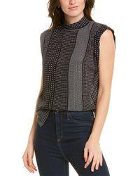 Nicole Miller Kaleidoscope Silk-blend Top - Black
