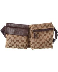 Gucci - Brown Canvas & Leather Waist Pouch - Lyst