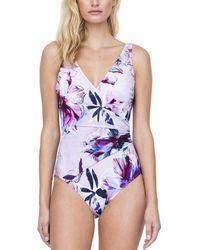 Gottex Standard Wrap Surplice One Piece Swimsuit - Purple