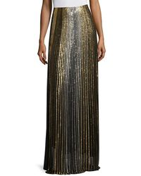 Balmain Metallic Striped Long Skirt