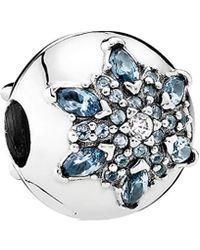 PANDORA Silver Cz & Crystal Crystalized Snowflake Charm - Multicolour