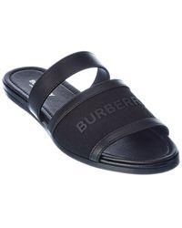 Burberry Logo Strap Canvas & Leather Sandal - Black