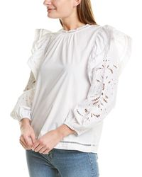 J.Crew Embroidered Flutter Sleeve Top - White