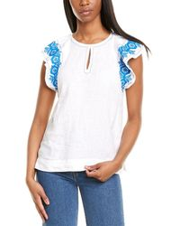 J.Crew Embroidered Linen Top - White