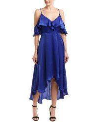 a. calin Cold-shoulder Sleeve Maxi Dress - Blue