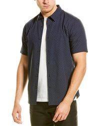 Vince Micro-print Woven Shirt - Blue
