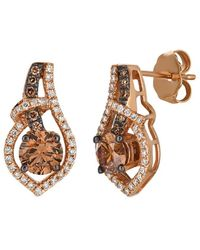 Le Vian ? Chocolatier? 14k Strawberry Gold? 1.16 Ct. Tw. Diamond Earrings - Metallic