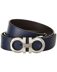 Ferragamo Reversible & Adjustable Leather Belt - Blue
