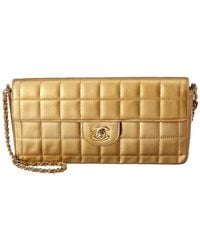 Chanel Gold Quilted Lambskin Leather Medium Chocolate Bar East West Bag - Metallic