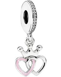 PANDORA Silver Crowned Hearts Dangle Charm - Metallic