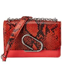 3.1 Phillip Lim Alix Snake-embossed Leather Chain Clutch - Red