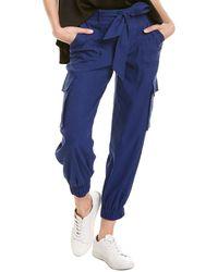 Alice + Olivia Verla Slim Linen-blend Cargo Pant - Blue