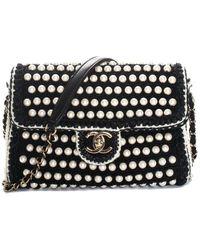 Chanel Limited Edition Black Crochet Flap Handbag Nm