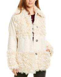 Kensie Sherpa Patchwork Coat - White
