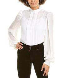 Nicole Miller Georgette Pintuck Silk-blend Blouse - White