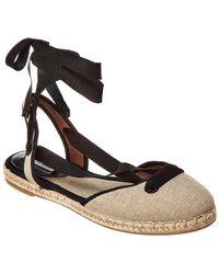 Tabitha Simmons Kaya Natural Linen Ankle-wrap Espadrille - Brown