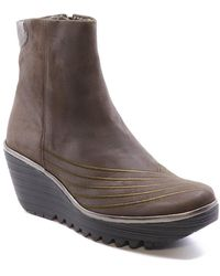 Fly London Yeni062fly Leather Wedge Bootie - Grey