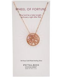 Dogeared Petal Box Collection 14k Rose Gold Plated Necklace - Metallic