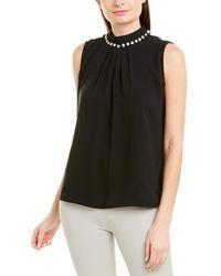 Tahari Sleeveless Georgette Rhinestone Embellished Mock Neck Pleated Top - Black