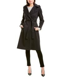 Via Spiga Belted Long Trench Coat - Black