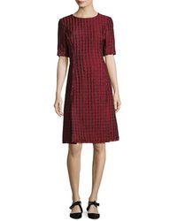 Oscar de la Renta - Grid Print A-line Dress - Lyst