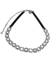 CZ by Kenneth Jay Lane - Plated Square Link Choker Necklace - Lyst