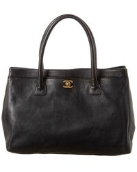 Chanel Black Caviar Leather Cerf Shopper Tote