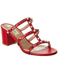 Valentino Rockstud 60 Leather Sandal - Red