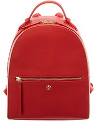 Tory Burch Emerson Leather Backpack - Red