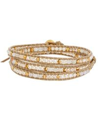 Chan Luu - 18k Over Silver & Leather Botswa Agate 3mm Pearl & Crystal Wrap Bracelet - Lyst