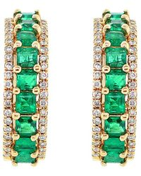Diana M. Jewels . Fine Jewellery 14k 0.95 Ct. Tw. Diamond & Emerald Earrings - Green