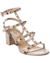 Valentino Rockstud Caged 45 Leather Ankle Strap Sandal - Brown