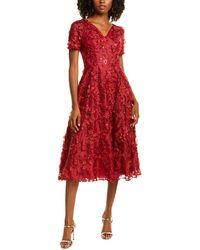 Carmen Marc Valvo Floral Applique A-line Dress - Red