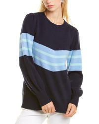 Sail To Sable Puff Shoulder Wool Jumper - Blue