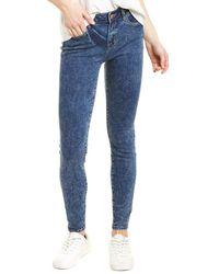 WASH LAB Fay Mid-rise Indigo Etch Skinny Leg Jean - Blue