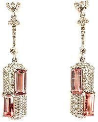 Arthur Marder Fine Jewelry Silver 1.71 Ct. Tw. Diamond & Turquoise Earrings - Metallic
