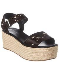 Franco Sarto Ben Leather Wedge Sandal - Black