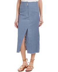 Moon River - Faux Wrap Linen-blend Midi Skirt - Lyst