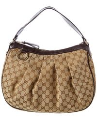 Gucci - Brown GG Canvas & Leather Sukey Hobo - Lyst