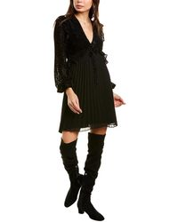 The Kooples Flocked Silk-blend Shirtdress - Black