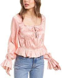 Divine Héritage Floral Jacquard Blouse - Pink