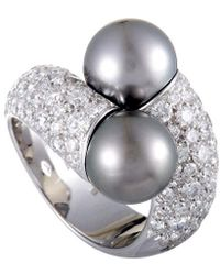 Mikimoto 18k 2.80 Ct. Tw. Diamond & 9-10mm Pearl Ring - Metallic