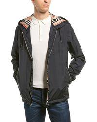 Burberry Everton Icon-striped Windbreaker Jacket - Black