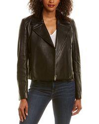 Theory Slim Leather Moto Jacket - Black