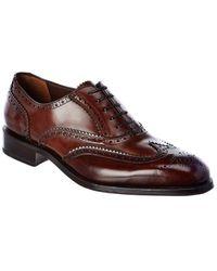 Ferragamo Wing Tip Leather Oxford - Brown