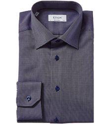 Eton Textured Contemporary Fit Dress Shirt - Blue