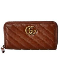 Gucci GG Marmont Matelasse Leather Zip Around Wallet - Brown