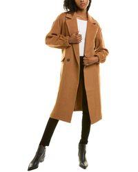 Avec Les Filles Blouson Long Wool-blend Coat - Brown