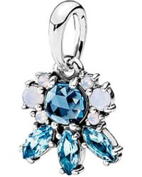 PANDORA Patterns Of Frost Silver Crystal Pendant - Blue